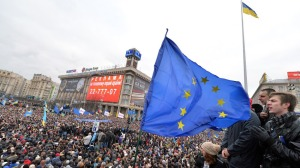The EU flag in Kiev, as the Ukraine society argue over a Western or Eastern path for the future.